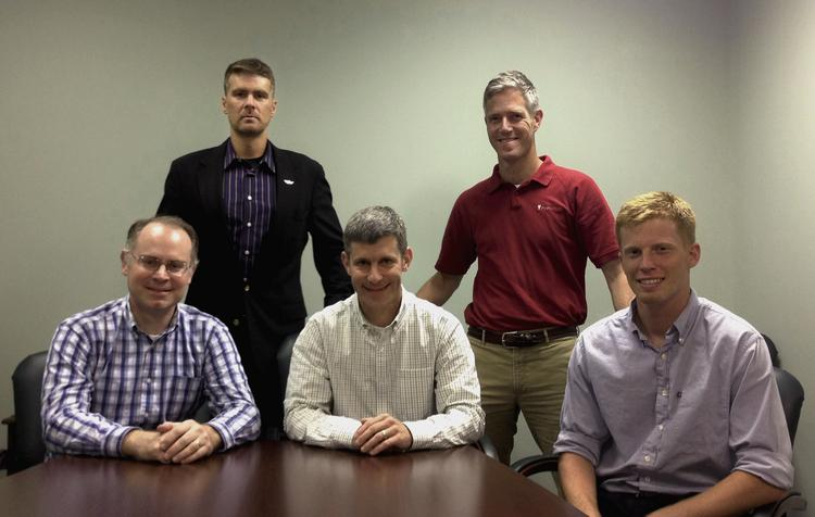 The Protochips team. From left to right, John Damiano, CTO; Michael Zapata III (standing), executive chairman, David Nackashi, CEO; Dan Gardiner (standing), director of engineering; Stamp Walden, Poseidon project engineer