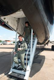 """Made in Space CEO Aaron Kemmer deboards a plane after work on NASA""""s Reduced Gravity Office Flight Opportunities Program & Education flight."""
