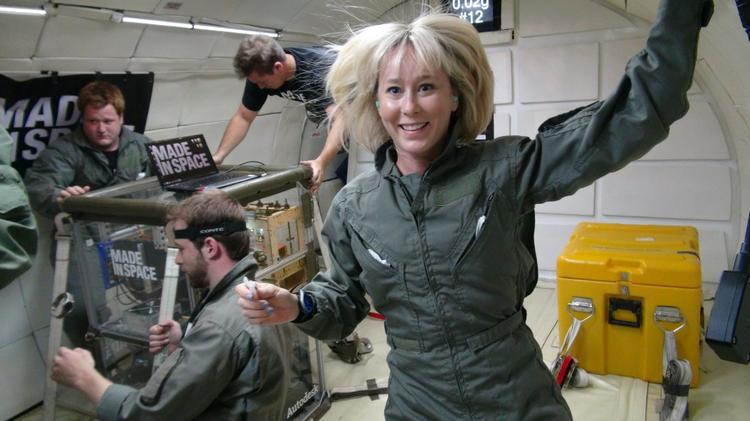 The Made in Space team conducts tests during a reduced gravity flight.   Click here for more images of the company's work on 3-D printing in space.