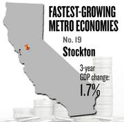 No. 19 -- Stockton, where the metropolitan GDP rose by 1.7 percent in three years to $20 billion in 2011.
