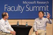 From left, Rick Rashid, longtime chief of Microsoft Research, and Bill Gates, Microsoft chairman and co-chair of the Bill and Melinda Gates Foundation, speak at the 2013 Microsoft Research Faculty Summit in Redmond. Gates said the company was ahead of its time with Bob, a user interface figure.