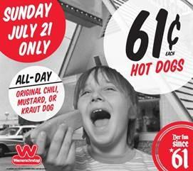 Wienerschnitzel is selling 61 cent hot dogs on July 21 in honor of the chain's founding in 1961.