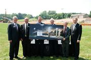 Klein family members and executives from Crown College and KleinBank posed for a photo at the July 11 KleinBank Stadium naming ceremony. From left: Crown College President Joel Wiggins, Alan Klein, Jim Klein, Dan Klein, Klein Bank President and CEO Doug Hile and Crown College Board of Trustees Chair Don Berglund.