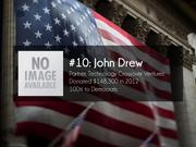 #10: John Drew  General Partner, Technology Crossover Ventures  Donated $148,300 in 2012  100% to Democrats