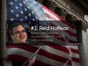 #2: Reid Hoffman  Partner, Greylock Partners  Donated $1,084,100 in 2012  100% to Democrats