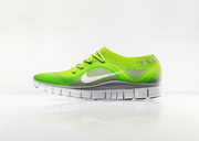 The Nike Free Flyknit, unveiled at Nike innovation day, unites two of Nike's most popular technologies to deliver barefoot-like flexibility and a compression fit that locks the foot in place. It is designed to flex with the foot in motion.