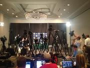 A number of TV stations are broadcasting from the event, and ESPN's College Football Live is on-site, as well.