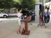 American Natural CEO Jennifer Pomerantz introducing the company's new fueling station concept. The facility offers gasoline, diesel and CNG as well as upscale food and coffee.