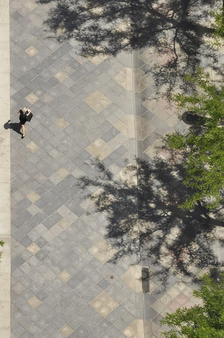 Birds eye view of the mall and its granite paving stones from the D&F Tower.