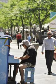 Making music on the 16th Street Mall.