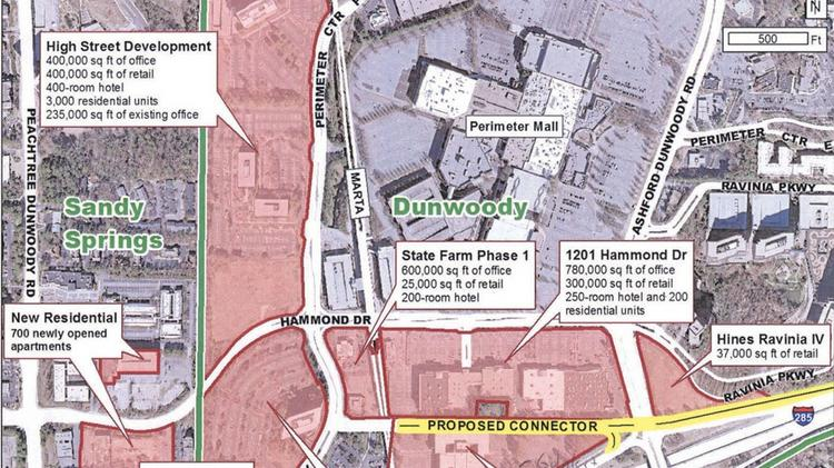 Atlanta Map Traffic.Dunwoody Officials Propose Up To 20 Million Connector To Ease