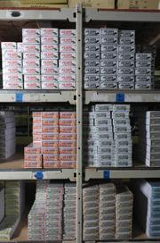 Shelves of Ice Chips Candy in the company's Yelm facility.