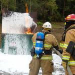 Training pad enabling responders to confront well fires