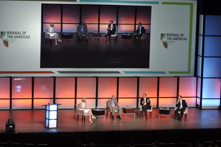 Biennial of the Americas first symposium with Tina Brown, editor-in-chief of Daily Beast and Newsweek as moderator; John Malone, chairman of Liberty Global and Liberty Media Corp; Eric Schmidt, executive chairman of Google; and Arturo Sarukhan, chairman of Global Solutions.