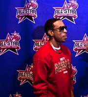 Rapper and producer Ludacris appeared on stage during the pre-game show at the 2013 NBA All-star Game.