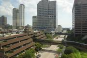The view from an east-facing window from the office's top floor.