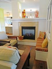 Locust Creek Home No. 3: Hearth room with built-in benches