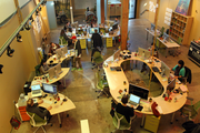 Citizen Inc. had desks custom built so they can be reconfigured into almost any shape.