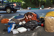 Monday, 9:15 a.m.: A protester named Michael and his wife protest their right to sleep in front of city hall.