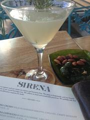 Garden Martini, olives and almonds
