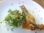 Fried squash blossom with three cheeses