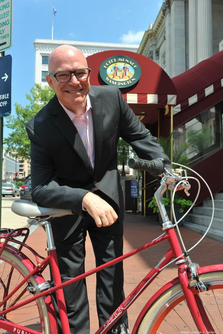 Ed Virtue, general manager of the Hotel Monaco in Washington, D.C., is helping design a bunch of bike programs for guests to go with the hotel's new bikes.