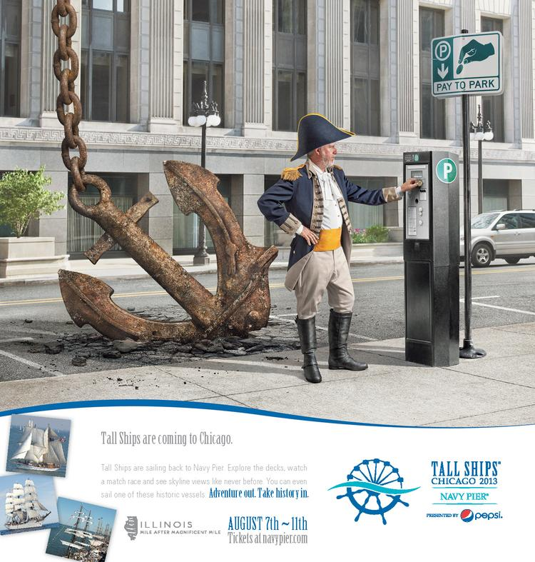 A new print ad from Two by Four/Chicago aims to attract visitors to the Tall Ships that soon will dock at Navy Pier.
