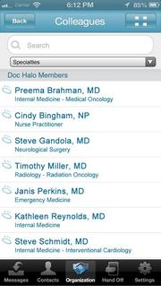 Doc Halo allows doctors to communicate with one another via text message in a secure way.