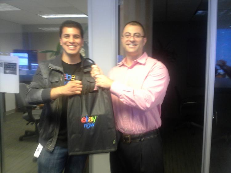 Business Journal reporter Nathan Donato-Weinstein, right, and his eBay Now valet, who delivered a personal blender to the Business Journal offices on Wednesday, July 17.