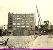 A historic photo of the Van Buren office building taken while Northwestern Mutual was building an office on its campus which has since been demolished.