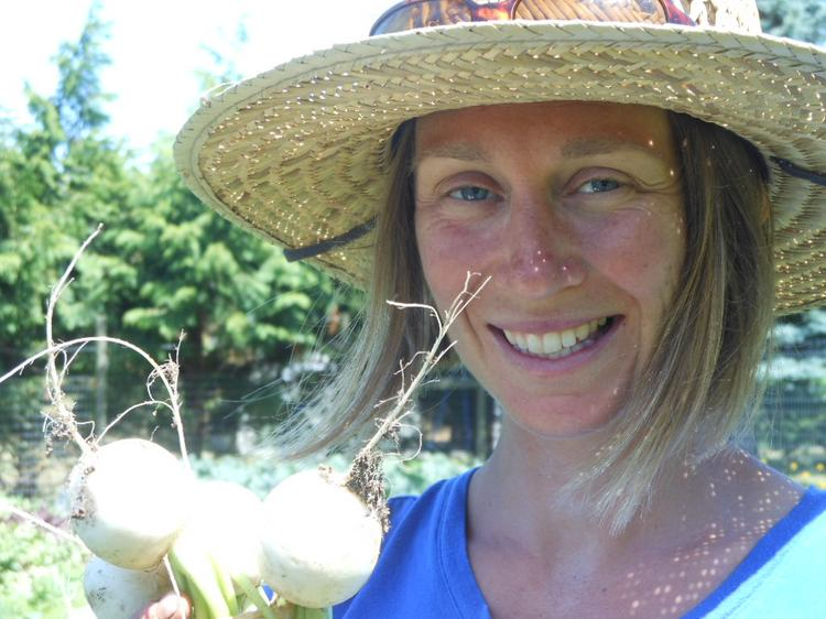 Holding a bunch of just-picked turnips destined for salad, Gardener Mary von Krusenstiern works at a spot called Loganita near the Willows Inn on Lummi Island in the San Juan Islands. She is one of two full-time gardeners for the restaurant. Like Chef Blaine Wetzel, von Krusenstiern found this job on the internet.