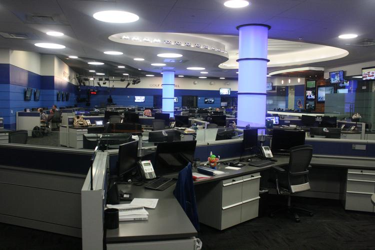 Golf Channel's renovated newsroom has a modern feel that fits with following the evolution of the sport of golf to mainstream audiences.