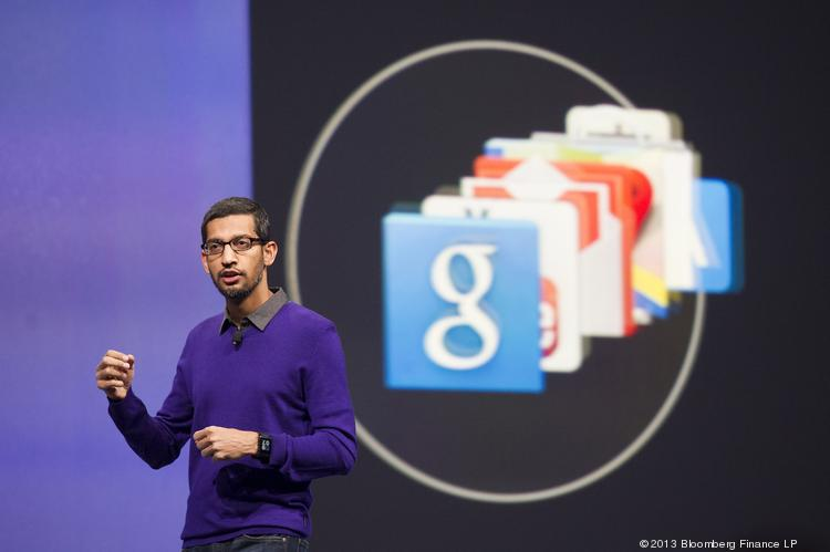 Sundar Pichai, senior vice president of Android, Chrome and Apps at Google, speaking at the Google I/O Annual Developers Conference in San Francisco on May 15.
