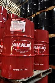Amalie Oil made in the U.S.A. Barrels of oil ready for export at the Port of Tampa.