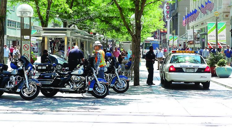 Denver police officers on the 16th Street Mall.