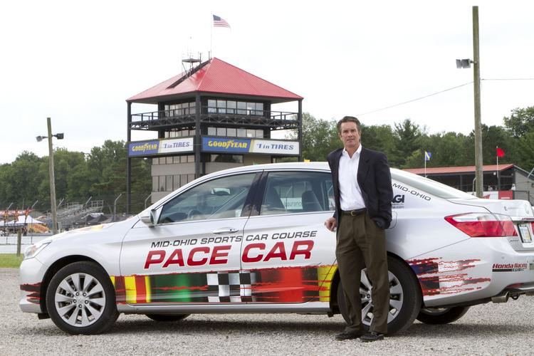 Mid-Ohio Sports Car Course's President Craig Rust, pictured with a new Honda Accord pace car, has been working to boost the track's corporate sponsors. Honda renewed its deal for three years in 2012.