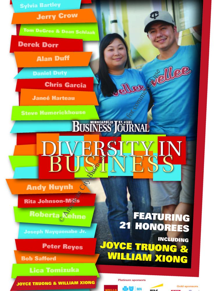 The 2013 Diversity in Business publication, with Joyce Truong & William Xiong of Vellee Deli on the cover.
