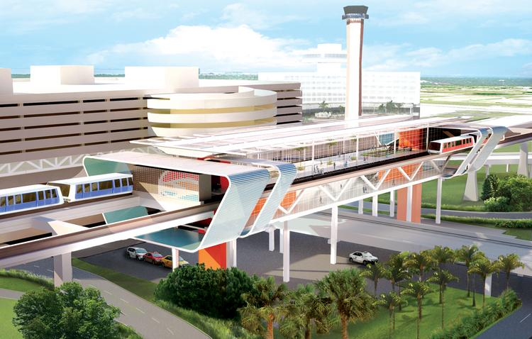 Rendering of an automated people-mover, one of the elements of the master plan.