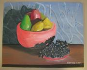 Dick Kolks, who works in shipping, painted this fruit bowl.