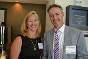 Elaine Clancy, left, from Lincoln Property Company, with Kevin Kelly from SpectrumCareers.