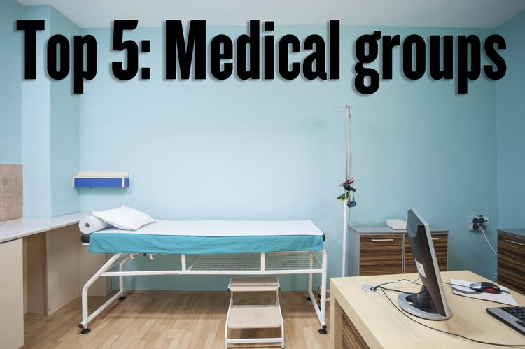 The top of the List features the top medical groups in the region, as ranked by number of doctors.