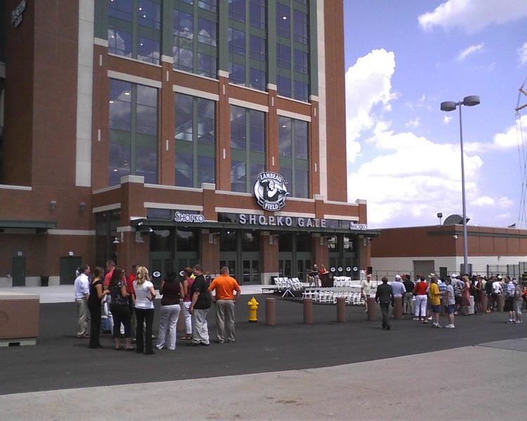 Visitors gathered outside Lambeau Field for an open house of the new seats at the stadium.