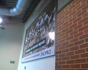 Shopko-sponsored photo boards line the escalator area of the new South End.