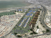 A rendering of a new logistics center in West Oakland that could potentially receive coal shipments.