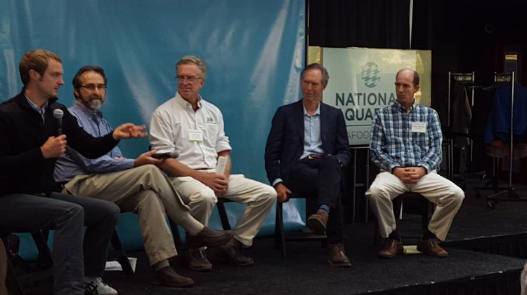 Panelists at the National Aquarium's East Coast Seafood Forum discuss advances in aquaculture technology and challenges associated with the industry.
