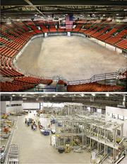 The Britt Brown Arena at the Kansas Coliseum before and after NIAR.