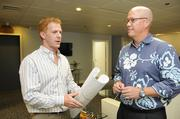 Anthony Hunt, left, and Fred Noa left their long careers with CBRE Hawaii to open Blue Rock Partners in November 2012.