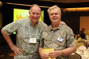 From left, Reg Baker of HMAA, and Jim George of Pacific Business News.