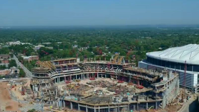 Falcons release time lapse video of mercedes benz stadium for Hotel near mercedes benz stadium atlanta