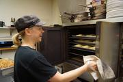 Paulette Bakery owner Janna Gustin bakes her croissants for eight minutes before rotating the pan.